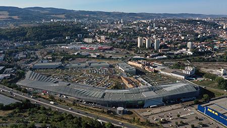 vue aérienne centre commercial Steel